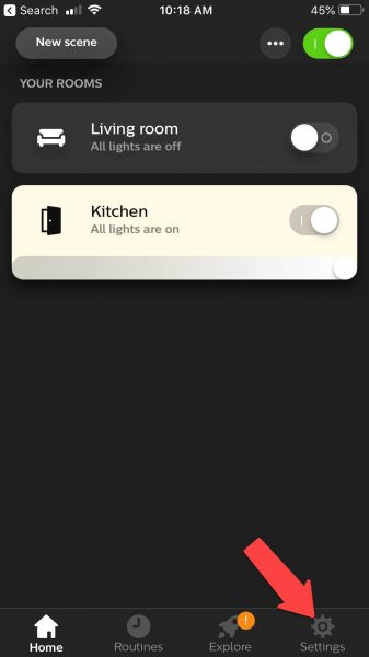 hue power outage app settings