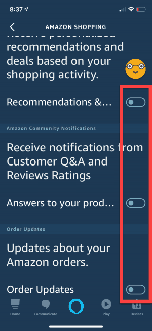 turn off alexa shopping notifications